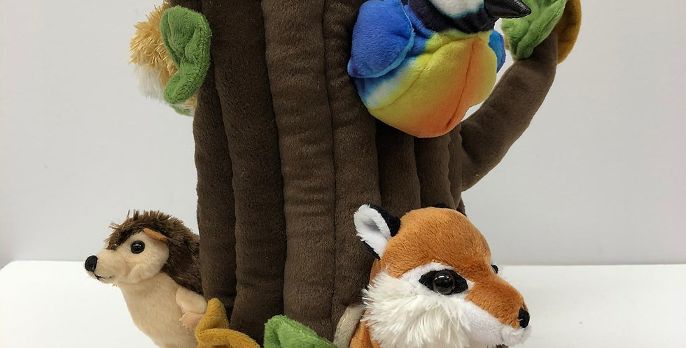 Puppet Company Hideaway Tree with 6 finger puppets