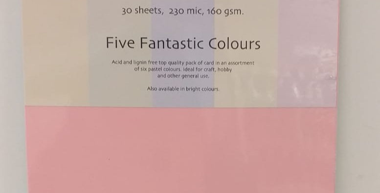 A5 pastel card 30 sheets
