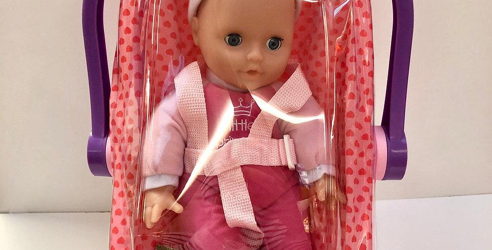 "Dolls World 12"" soft bodied doll in car seat"