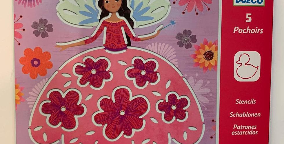 Djeco: 5 Butterfly Pochoirs Stencils