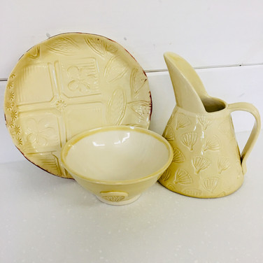 Small bowl, plate and tapered jug