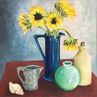 Blue jug with sunflowers