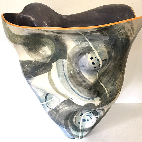 Large thrown and altered vessel in grey abstract pattern with orange rim