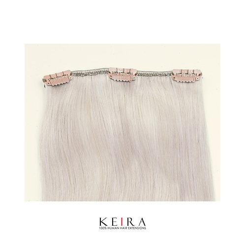 16 inches 3-clip Human Hair Extensions, Silver Ash