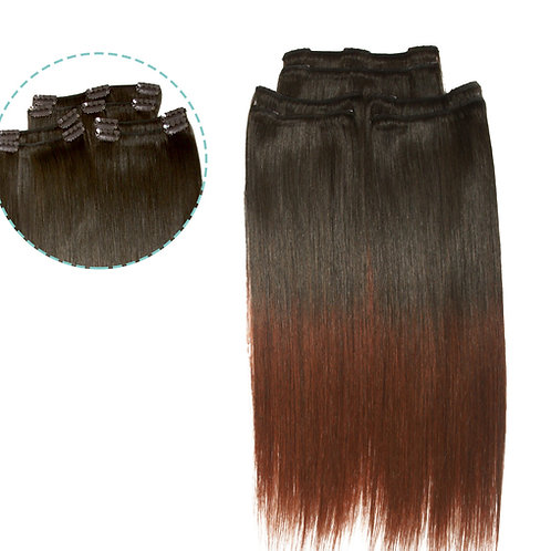 "Keira Human Hair Extensions Waist Length 22"" Full Head Set, Ombre Color"
