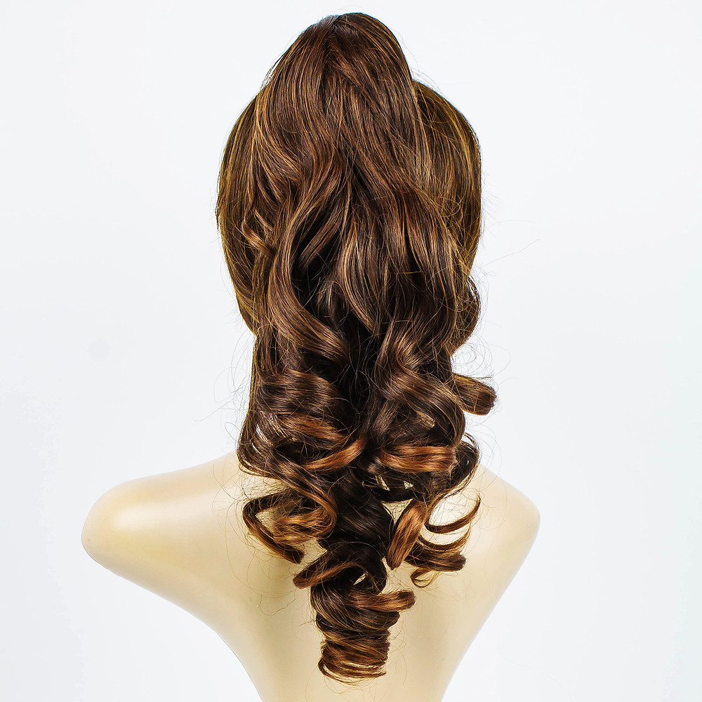brown hair, ponytail, clamp, hair extensions