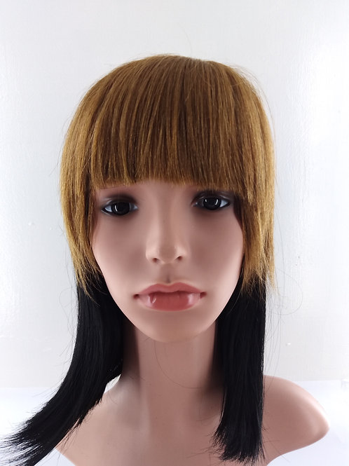 Human Hair Clip On Bangs Color: Golden Brown HHFP-06046B-6