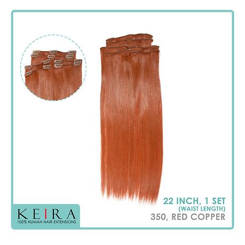 "Keira Human Hair Extensions Waist Length 22"" Full Head Set, Vixen Color"