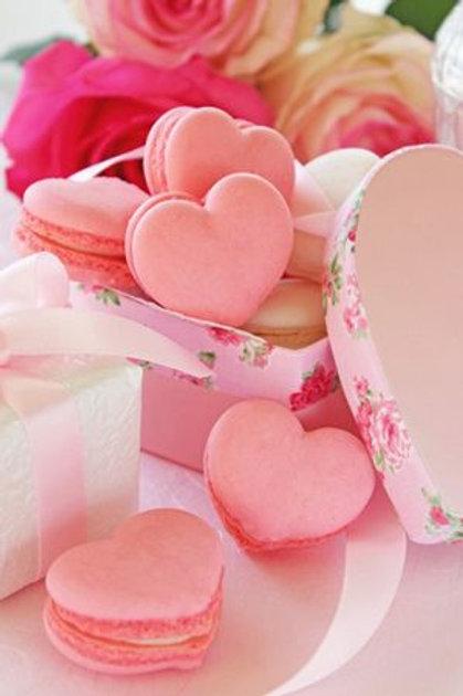 Box of heart shaped macaroons