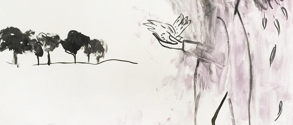 Homme avec oiseau