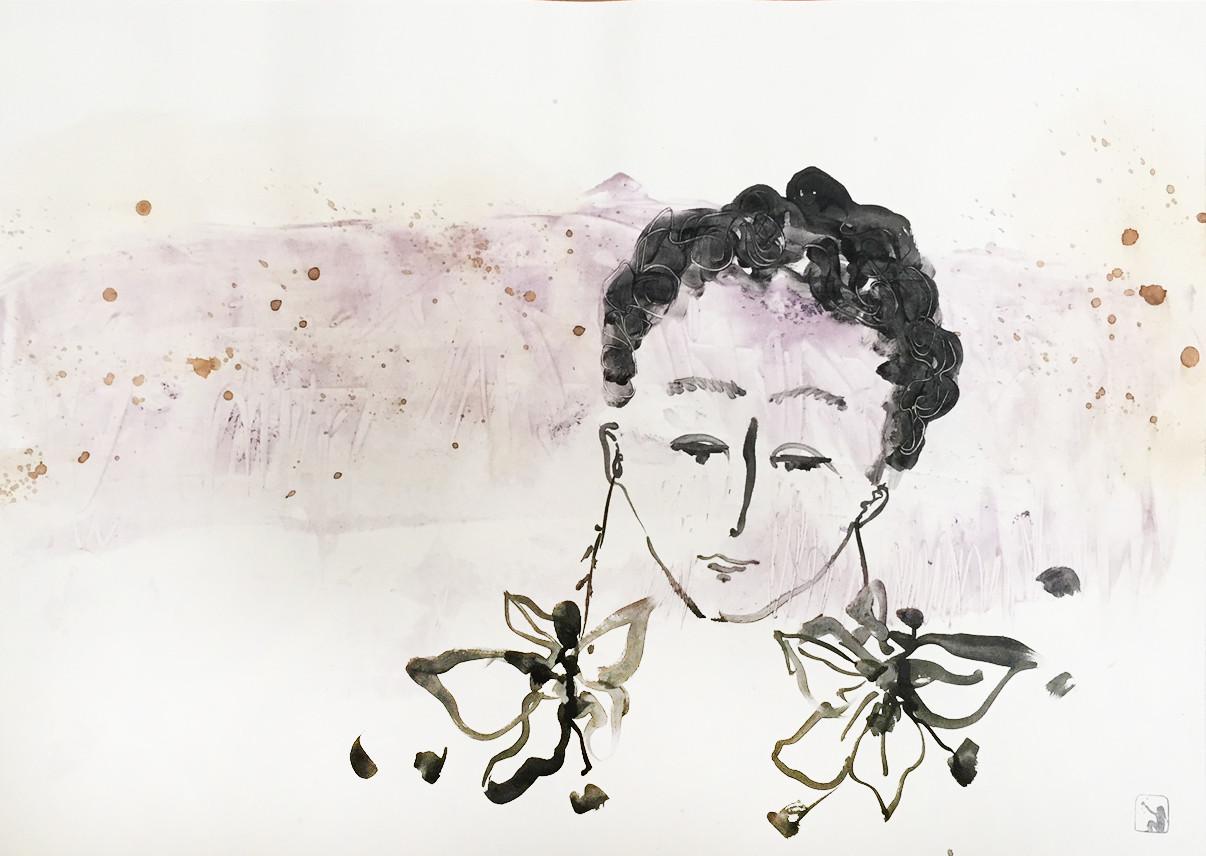Portrait avec boucles d'oreilles