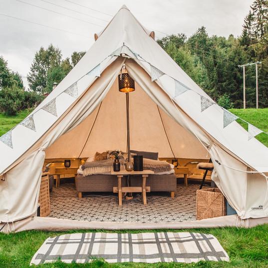 Åtte telt for 2 personer.  Foto: Maria Sørlie
