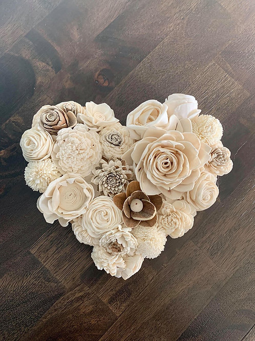 Wood Flower Heart