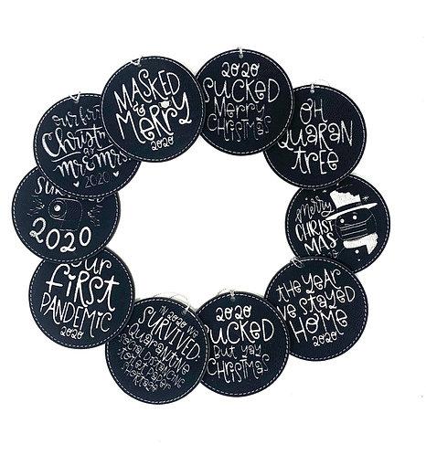 2020 Faux Leather Ornaments (Black & Silver)