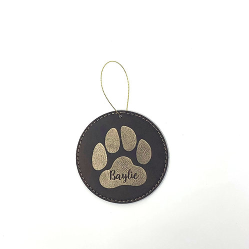 Faux Leather Ornaments - Dog Paws
