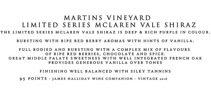martins Limited series sh15 tasting note