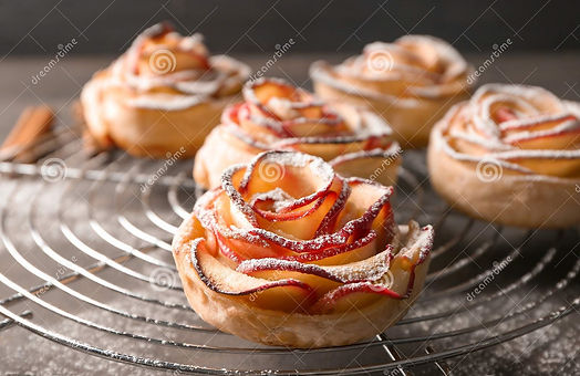 cooling-rack-rose-shaped-apple-pastry-ta
