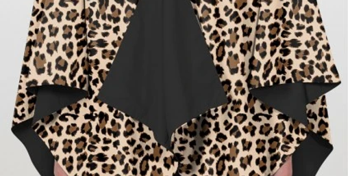 Hooded RAINRAP - Black & Leopard