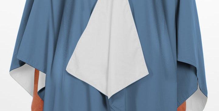 Hooded RAINRAP - Carolina Blue & White