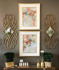 Abstract Art in White and Gold Frame