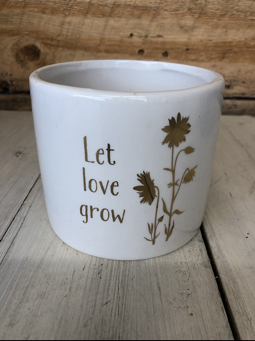 "5"" Let Love Grow ceramic planter"