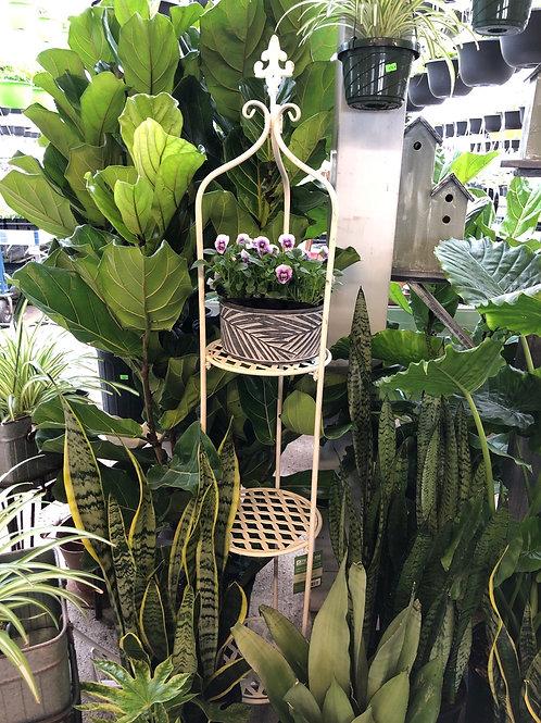3 shelf plant stand - fleur de lis - cream