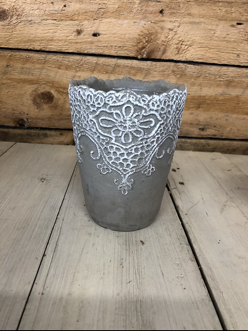 """4.5"""" tall gray cement lace pot"""
