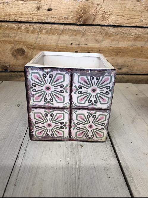 "5"" pink shades mosiac square ceramic pot"