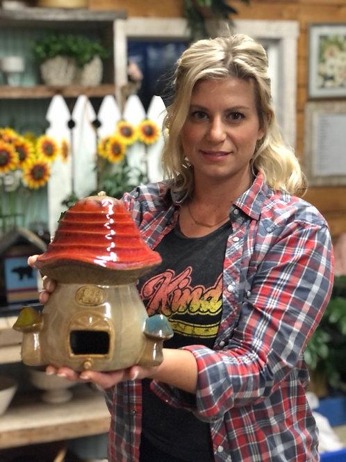 Birdhouse -  'toad abode' ceramic mushroom tan