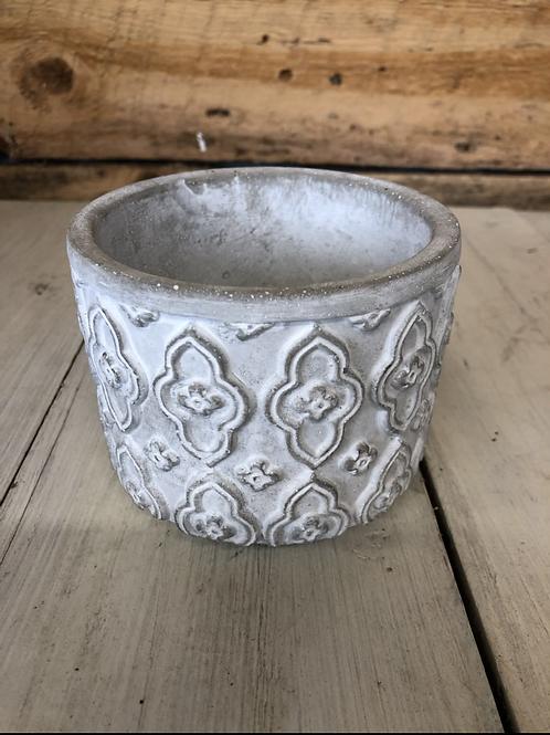 "4.25"" Gray/White wash cement planter"