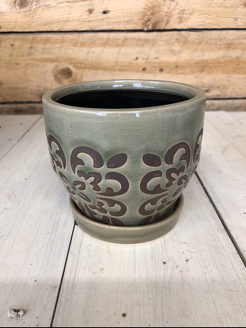 """5.5"""" Olive green with brown ceramic pot"""