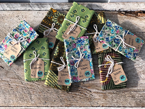 2 pack Beeswax Wraps