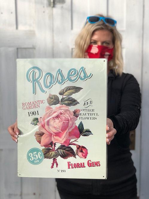 Roses Metal Sign Vintage Look
