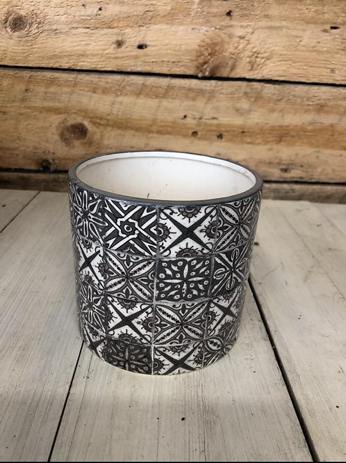 "5.25"" Gray Mosiac ceramic pot"