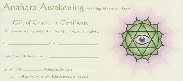 Anahata Awakening LLC Gift of Gratitiude Certificate