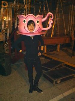 Steph wearing her Tea Cup Head