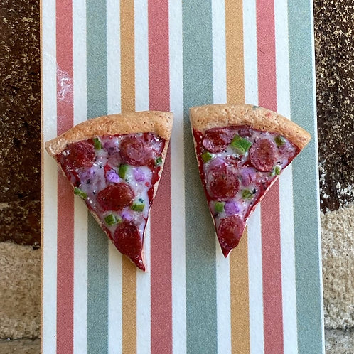 Pepperoni and Pepper Pizza Post Earrings