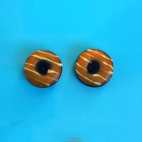 Pumpkin Glazed Chocolate Donut Post Earrings
