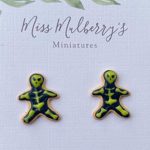 Alien Skeleton Sugar Cookie SS Post Earrings