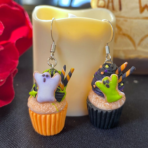 Spooky Deluxe Cupcake SS Dangle Earrings