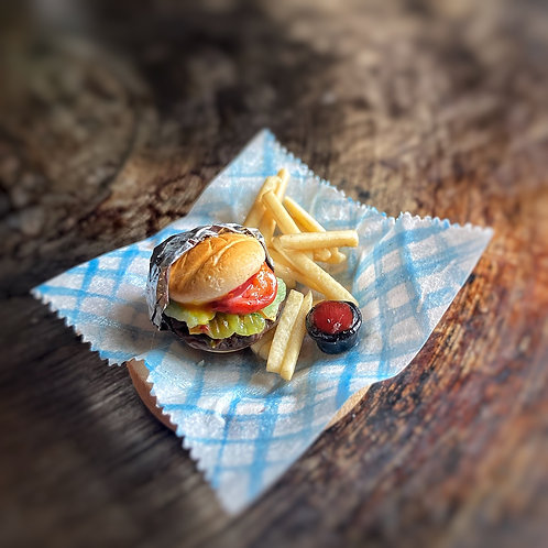 Cheese Burger and Fries Platter