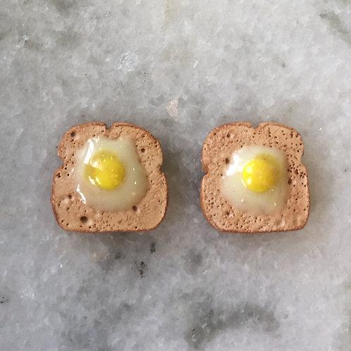 Eggs on White Toast SS Post Earrings