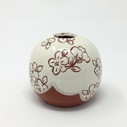 Bud Vase White with Carved Flowers