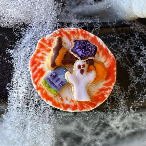 Halloween Cookies Plate Pin or Magnet