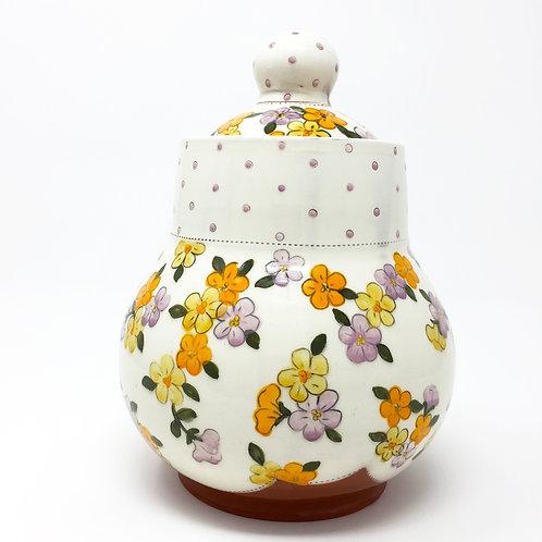 Lidded Jar Pink/ Orange/ Yellow
