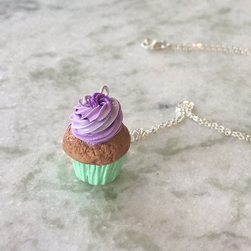 Pretty Purple Chocolate Cupcake SS Necklace