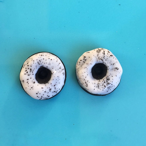 Cookies and Cream Glazed Donut Post Earrings