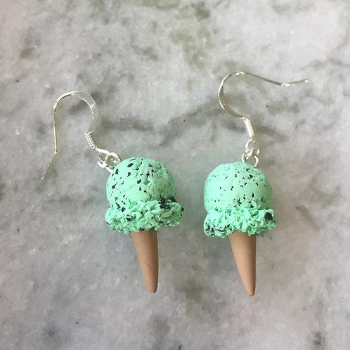 Mint Chip Ice Cream Earrings