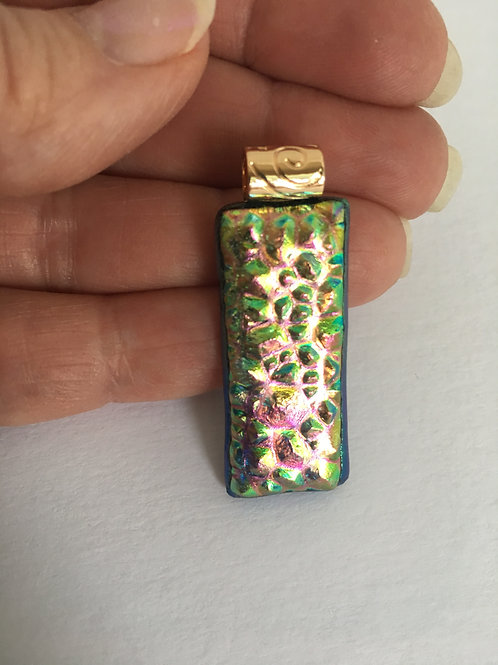 Double Dichroic Dewdrop Glass Pendant with fancy bail