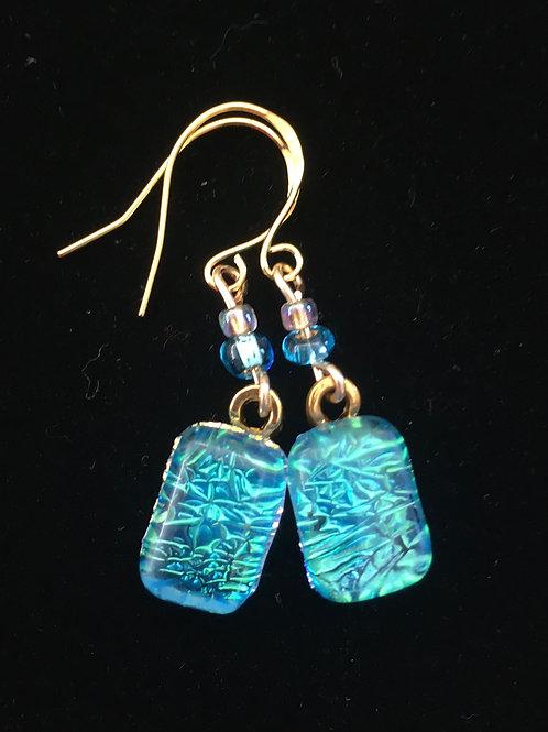 Teal Crinklized Dichro Earrings